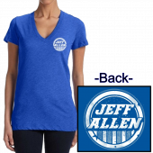 Jeff Allen Ladies True Royal Deep V Neck Tee