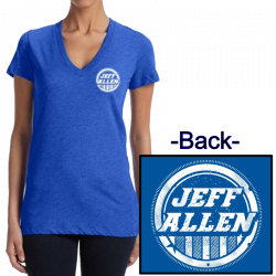 Jeff Allen Ladies True Royal Deep V Neck Tee